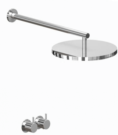 Vola shower mixer with wall mounted shower head