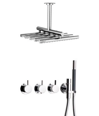 Vola Thermostatic shower mixer with ceiling shower head