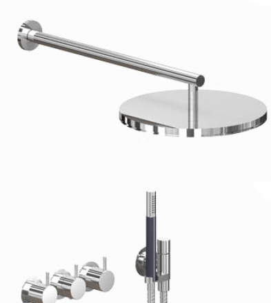 Vola thermostatic mixer with round fixed head and handshower