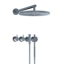 Vola thermostatic valve with round shower head and handshower