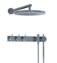 Vola thermostatic mixer with wall mounted shower head and hand shower