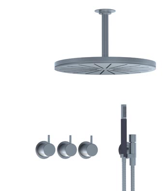Vola thermostatic mixer with ceiling shower head and hand shower