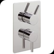Concealed thermostatic shower valve with 2 way diverter